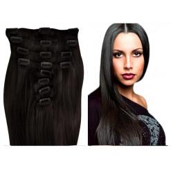 Extensions à clips brunes cheveux raides 53 cm