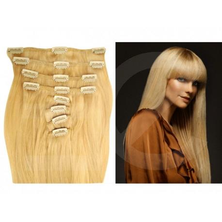 Extensions à clips blondes cheveux raides 53 cm