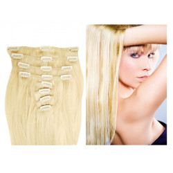 Extensions à clips blond platine cheveux raides 53 cm