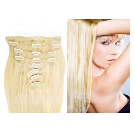 Extensions à clips blond platine cheveux raides 53 cm
