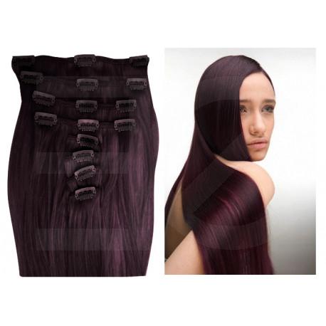Extensions à clips prunes cheveux raides 53 cm