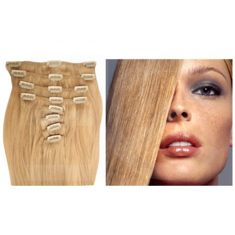 Extensions à clips blond cendré cheveux raides 63 cm