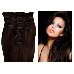 Extensions à clips châtain foncé cheveux raides 73 cm