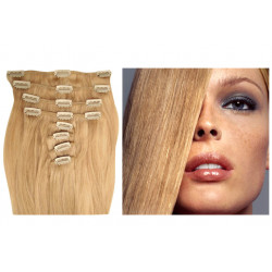 Extensions à clips blond cendré cheveux raides 73 cm