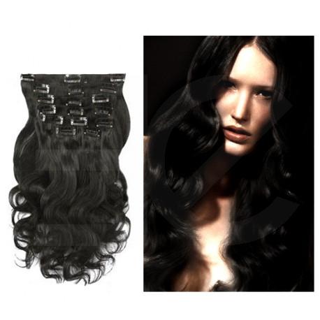 Extensions à clips noires cheveux bouclés 53 cm