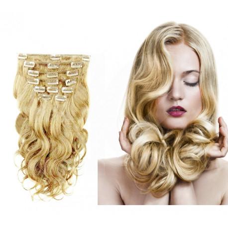 Extensions à clips blondes cheveux bouclés 53 cm