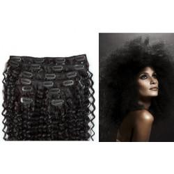 Extensions à clips noires cheveux frisés 53 cm