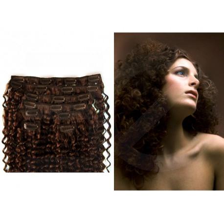 Extensions à clips chocolat cheveux frisés 53 cm