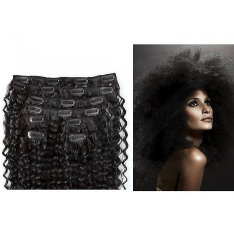 Extensions à clips noires cheveux frisés 63 cm