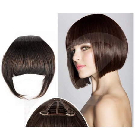 Frange à clips châtain foncé cheveux naturels