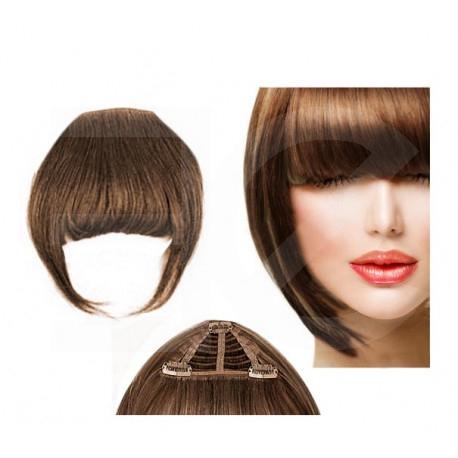 Frange à clips châtain noisette cheveux naturels