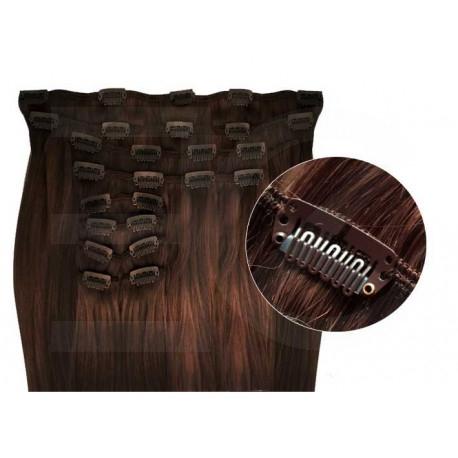 Extensions à clips cheveux synthétiques chocolat extra volume 63 cm