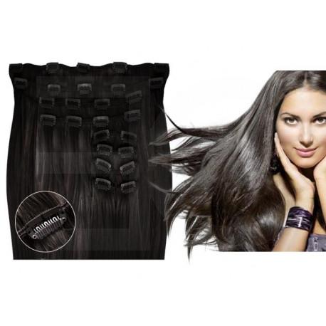 Extensions à clips brunes volume luxe 180 Gr. Cheveux raides 53 cm
