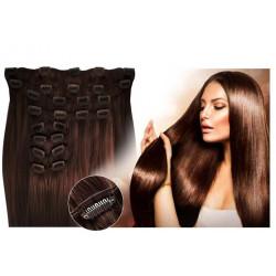 Extensions à clips chocolat volume luxe 180 Gr. Cheveux raides 53 cm
