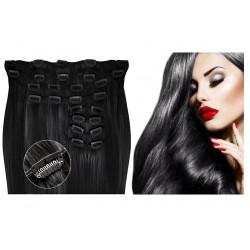 Extensions à clips noires volume luxe 180 Gr. Cheveux raides 63 cm