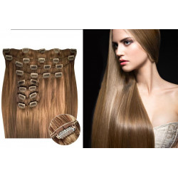 Kit extension de cheveux à clips naturel clair 12 luxe 100% volume 180 Gr. 63 cm