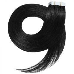 Extensions adhésives noires cheveux raides 50 cm