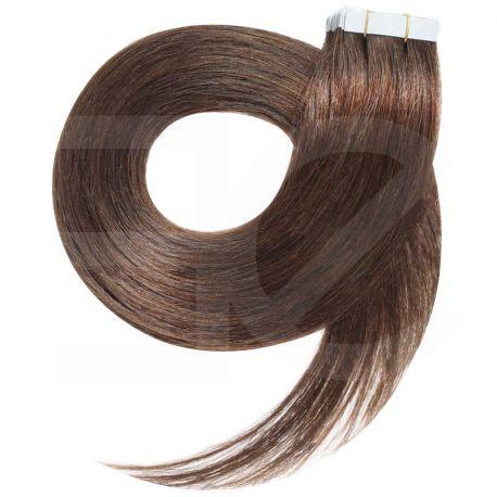 Extensions adhésives châtain noisette cheveux raides 63 cm