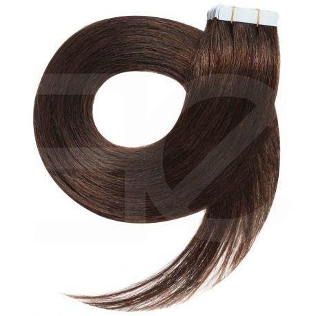 Extensions adhésives / Tape chocolat n°4 cheveux 100% naturels 73 cm