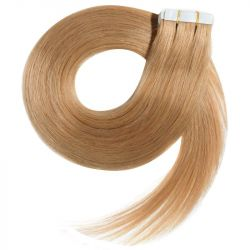 Extensions N°14 (Blond doré) cheveux 100% naturels adhésives / Tape 50 cm