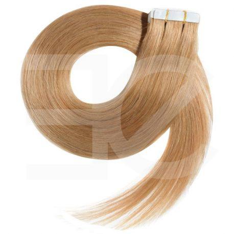 Extensions adhésives blond doré cheveux raides 50 cm