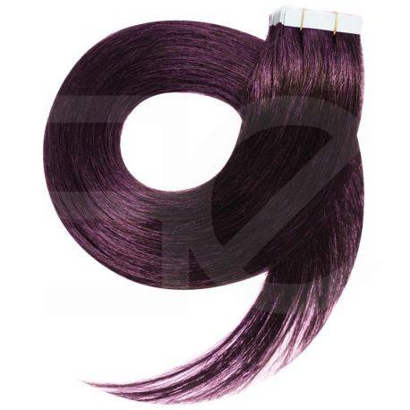 Extensions adhésives prunes cheveux raides 50 cm