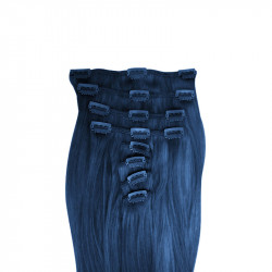 Extensions cheveux bleu 100% naturels à clips 53 cm
