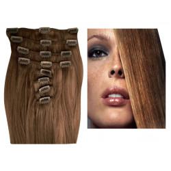 Extensions n°12 (CHATAIN CLAIR) cheveux 100% naturels à clips 63 cm