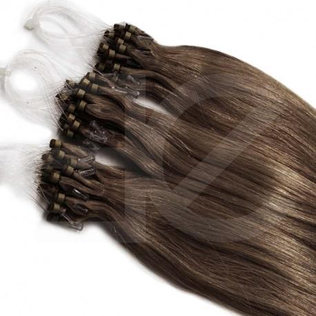 Extensions à loops châtain noisette cheveux raides 48 cm