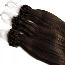 Extensions à loops châtain foncé cheveux raides 48 cm
