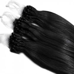 Extensions à loops noires cheveux raides 48 cm