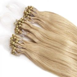 Extensions à loops blond cendré cheveux raides 48 cm