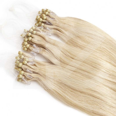 Extensions à loops blond platine cheveux raides 61 cm
