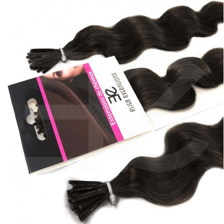 Extensions à froid brunes cheveux frisés 60 cm