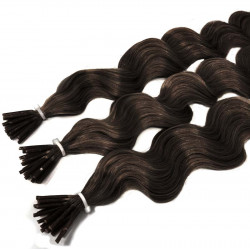 Extensions à froid châtain foncé cheveux frisés 50 cm