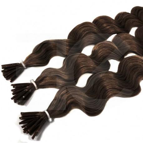 Extensions à froid chocolat cheveux frisés 50 cm