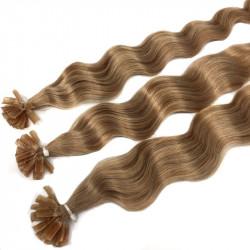 Extensions à chaud blond doré cheveux frisés 50 cm