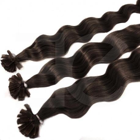 Extensions à chaud châtain foncé cheveux frisés 50 cm