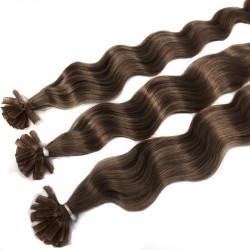 Extensions à chaud châtain noisette cheveux frisés 60 cm