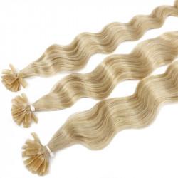 Extensions à chaud blond clair cheveux frisés 60 cm