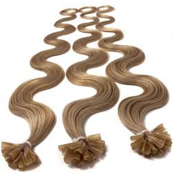 Extensions à chaud blond doré cheveux bouclés 50 cm