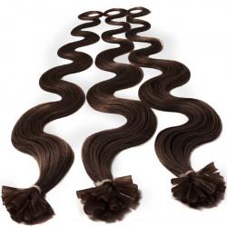 Extensions à chaud chocolat cheveux bouclés 63 cm
