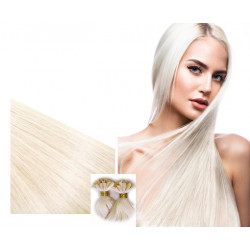 Extensions à chaud blond polaire cheveux raides 50 cm