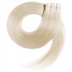 Extensions adhésives blond polaire cheveux raides 50 cm